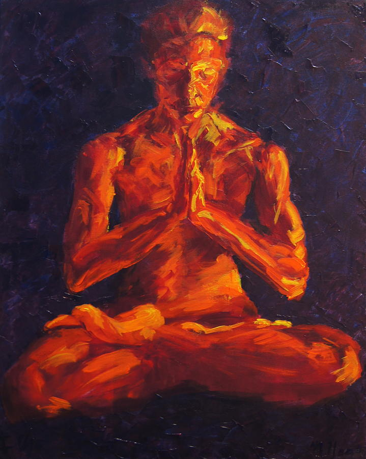 Lotus Pose Painting - Angie in Lotus Pose-I Am by Mary Haas