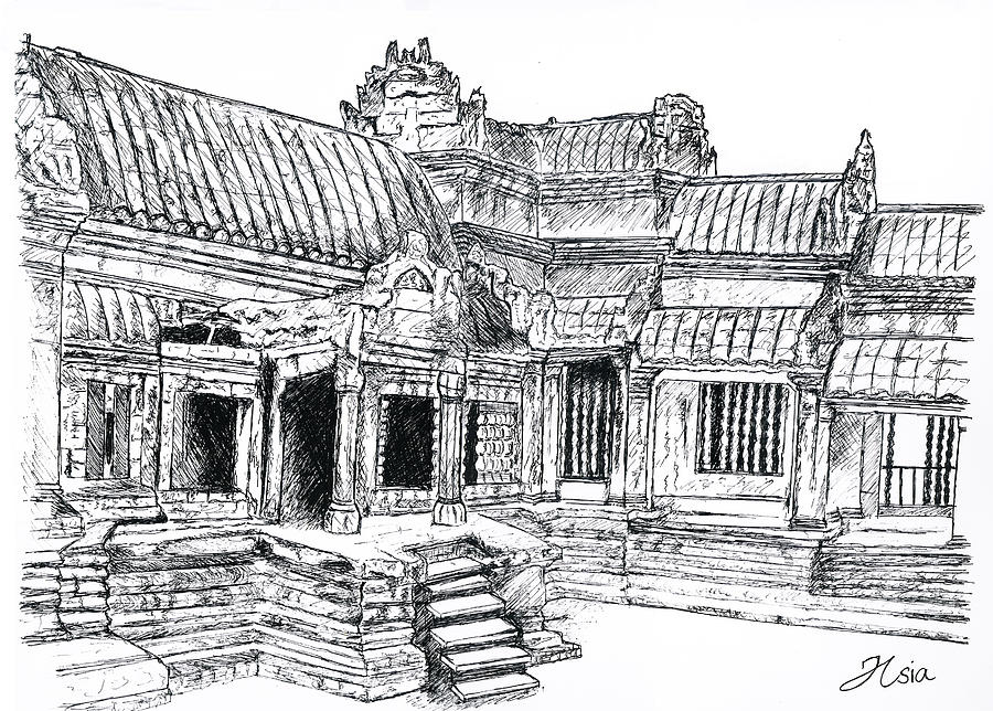 It is a graphic of Nerdy Angkor Wat Drawing