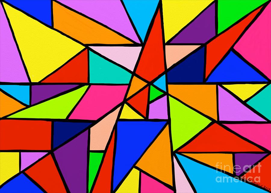 Angles Painting - Angle Fun by Anita Lewis