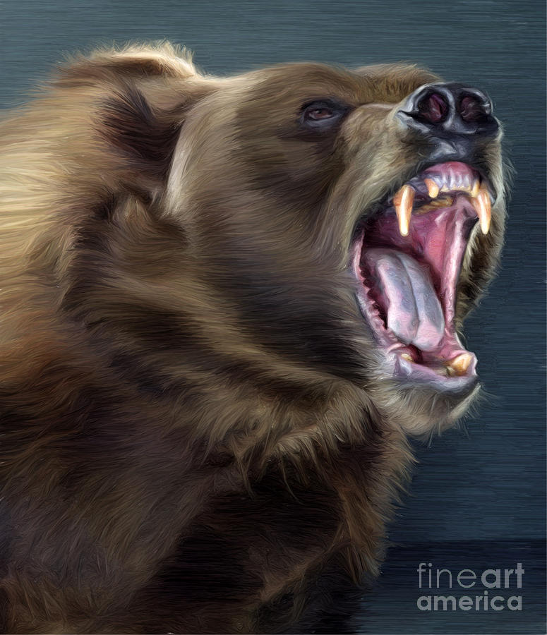 Angry Brown Bear Painting by Aleksey Tugolukov
