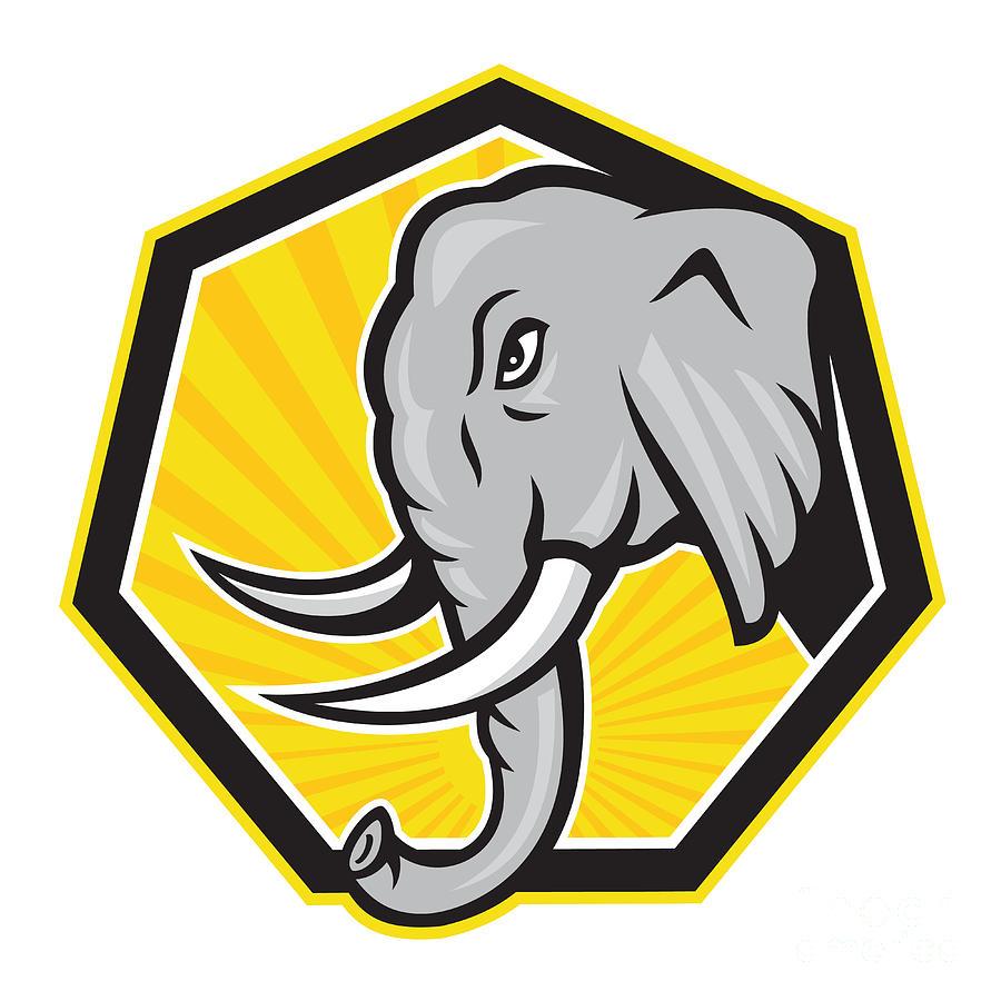 Angry Elephant Head Side Cartoon Digital Art by Aloysius ...