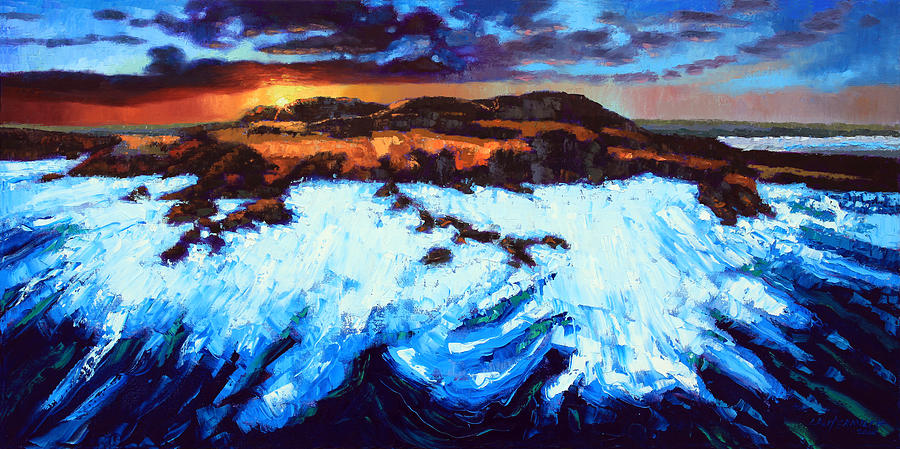Ocean Painting - Angry Ocean - Peaceful Sunset by John Lautermilch