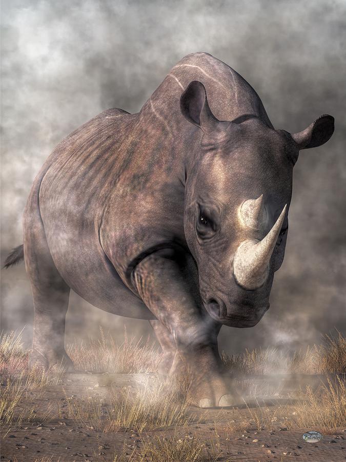Angry Rhino Digital Art