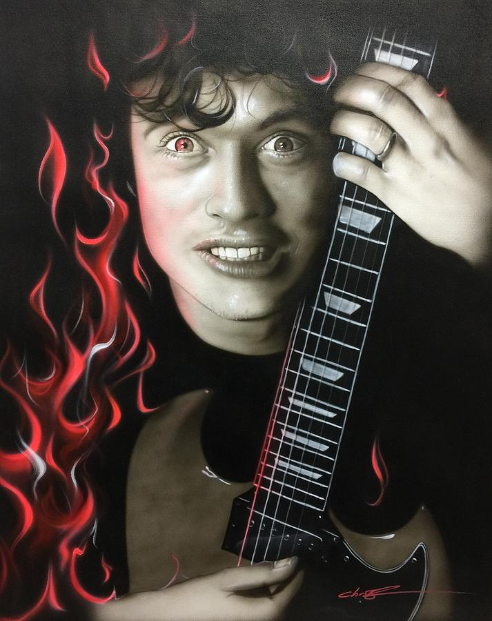 Acdc Painting - Angus on Fire by Christian Chapman Art