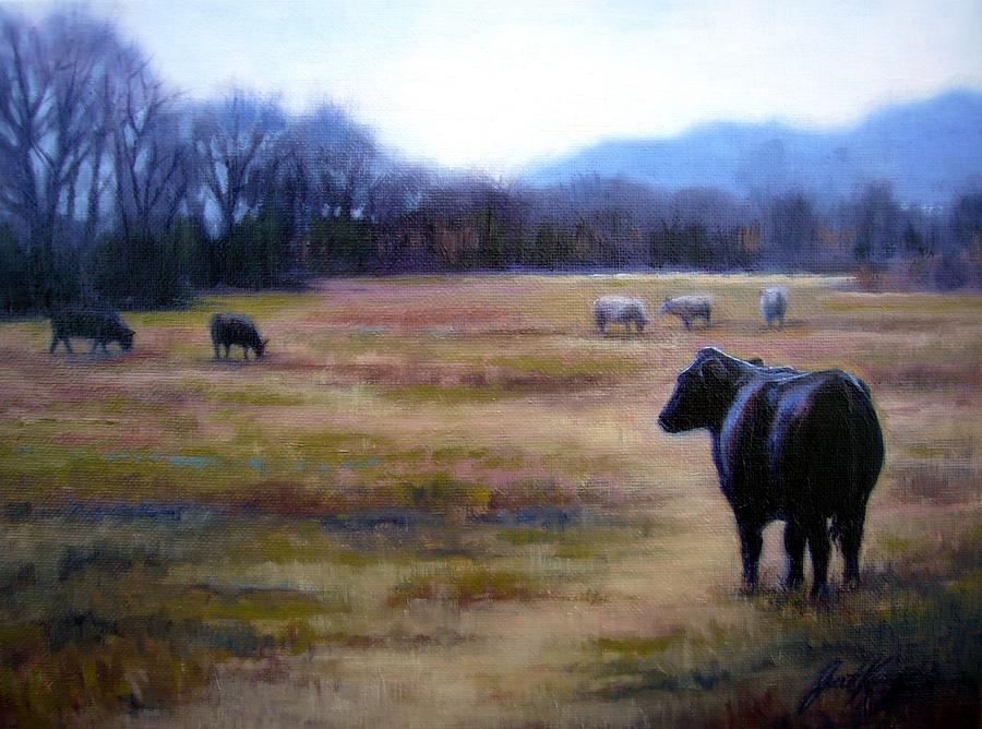 Angus Steer Painting - Angus Steer In Franklin Tn by Janet King