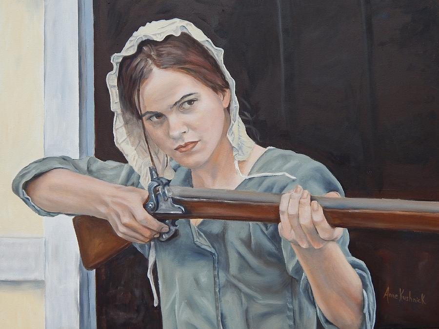 Image result for woman with gun painting