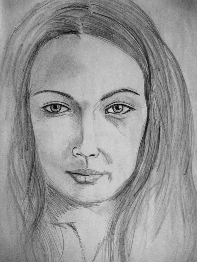 Portrait Drawing - Ania by Agata Suchocka-Wachowska