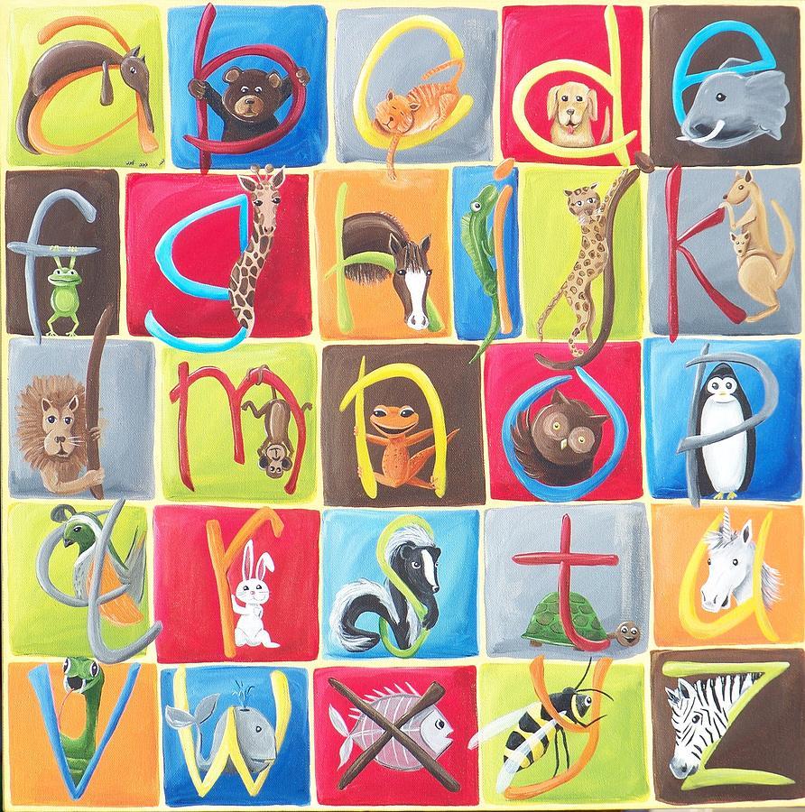 Alphabet Painting - Animal Alphabet by Tracie Davis
