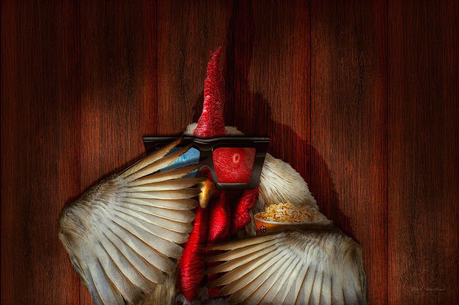 Name Digital Art - Animal - Chicken - Movie Night  by Mike Savad