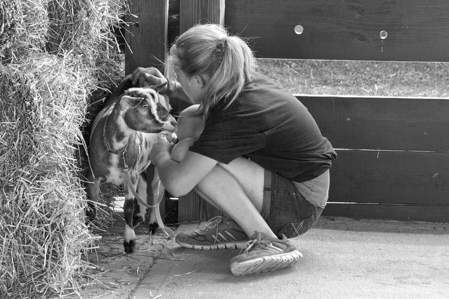 Girl Photograph - Animal - Goat - A Girl And Her Goat by Mike Savad