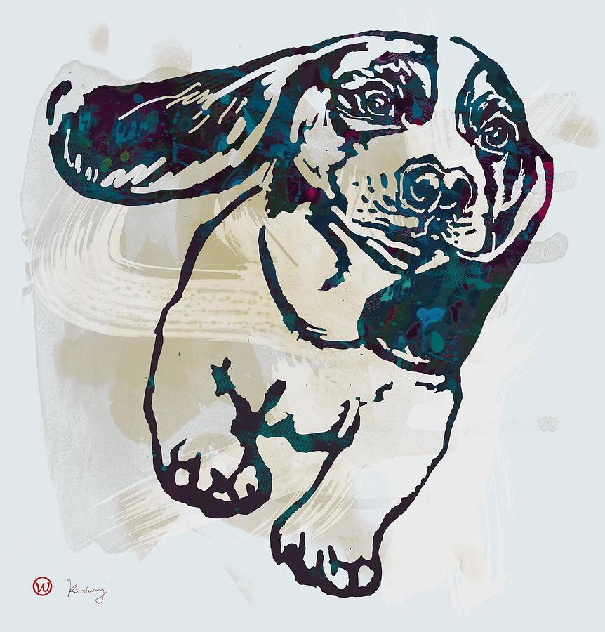 Très Animal Pop Art Etching Poster - Dog - 10 Drawing by Kim Wang VW19