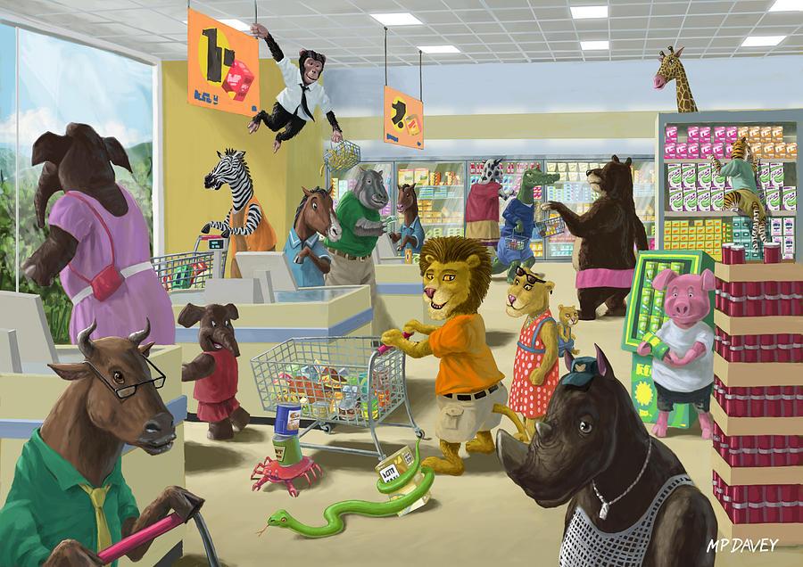 Supermarket Painting - Animal Supermarket by Martin Davey