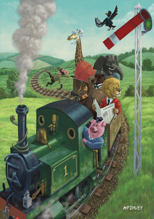 Animal Painting - Animal Train Journey by Martin Davey