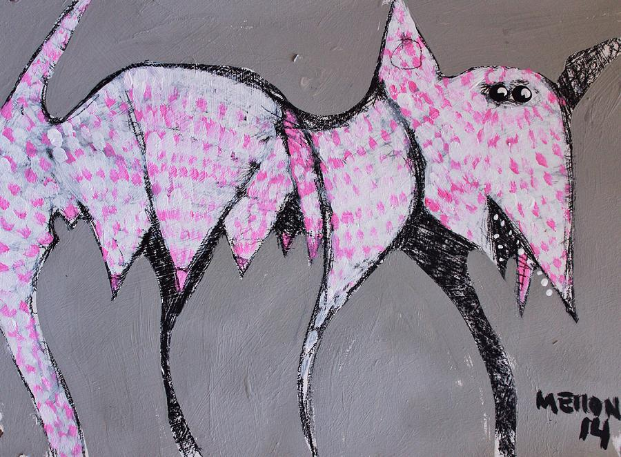 Dog Painting - ANIMALIA Canis with Pink Dots  by Mark M  Mellon