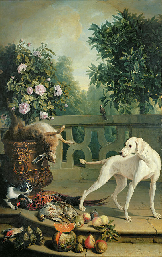 Dog Photograph - Animals, Flowers And Fruits Oil On Canvas by Alexandre-Francois Desportes