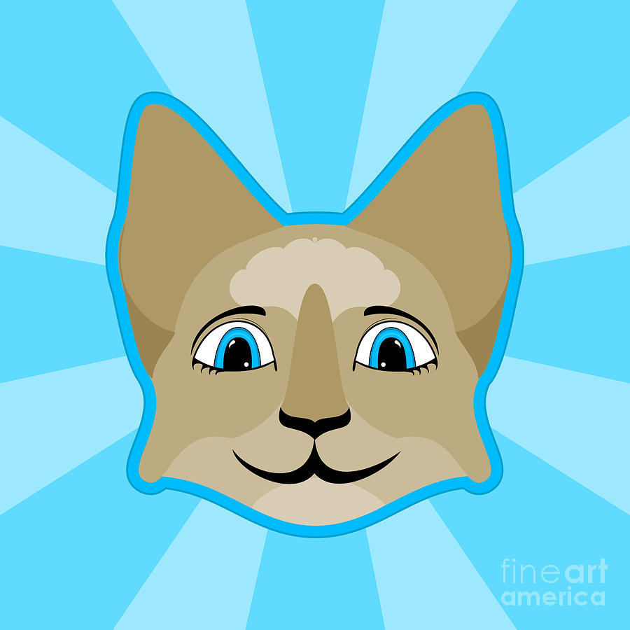 Anime Cat Face With Blue Eyes Digital Art By Angela Allwine