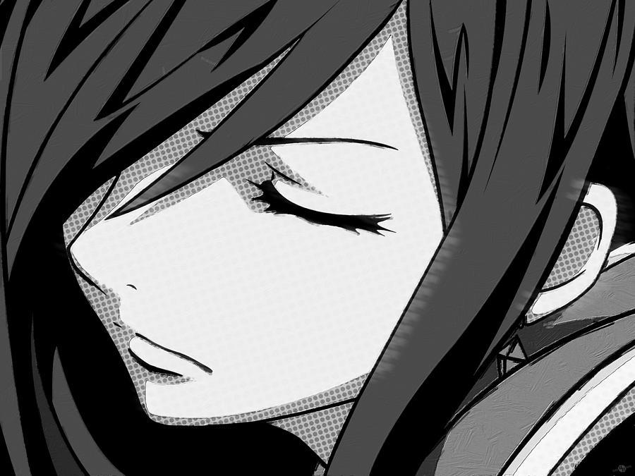 anime girl black and white