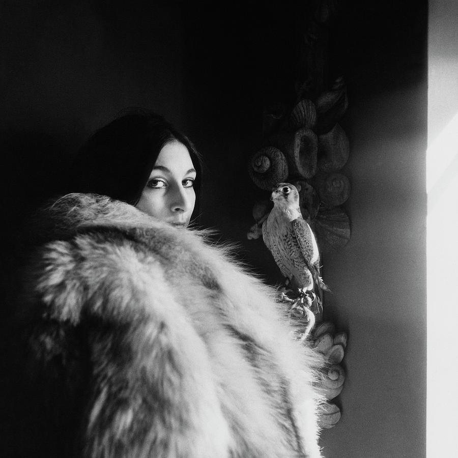 Anjelica Huston Wearing A Fur Coat Photograph by Arnaud de Rosnay