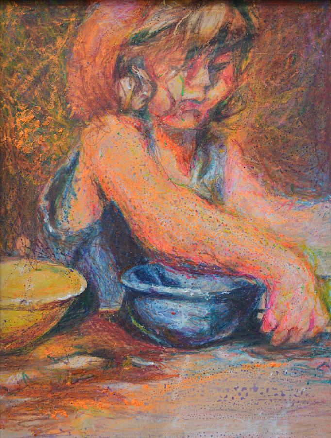 Abstract Modern Child Mixing Bowl Bowls Girl Raw Folk Blue Blonde Red Yellow Cooking Baking Crayon Portrait Painting - Anna And Mixing Bowls by Nancy Mauerman