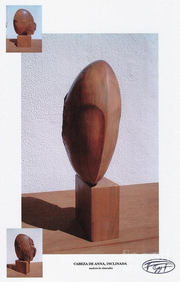 Almond Wood Sculpture - Anna  by Gyula Friewald