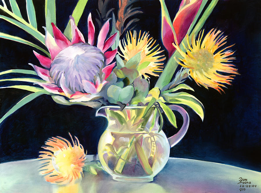 Don Jusko Painting - Annas Protea Flowers Transparent by Don Jusko