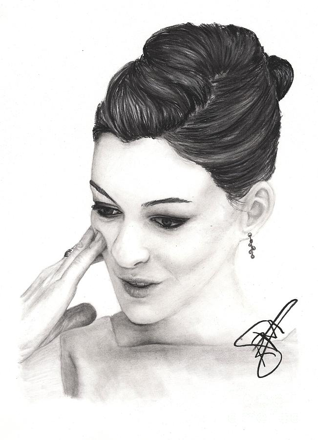 Anne Hathaway Drawing - Anne Hathaway by Rosalinda Markle