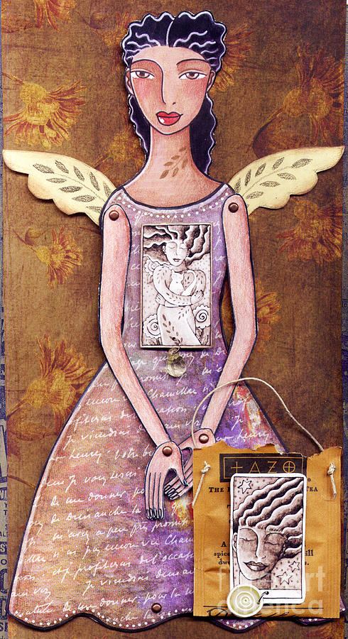 Paper Doll Mixed Media - Annie by Elaine Jackson