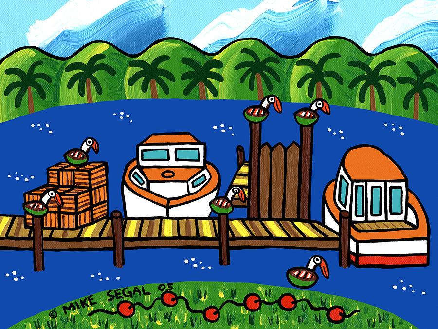 Cedar Key Painting - Annies Dock - Cedar Key by Mike Segal