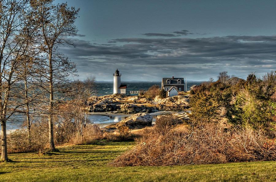 Hdr Photograph - Annisquam Lighthouse Late Autumn by Liz Mackney