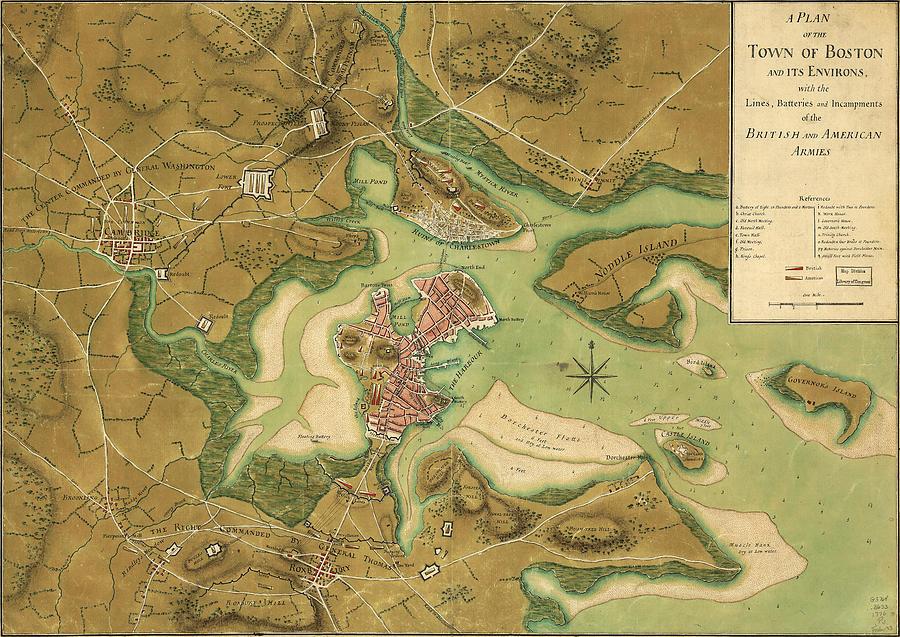 Map Of Paul Revere\'s Ride Anniv Of Paul Revere S Ride Boston In 1776 Painting by Celestial