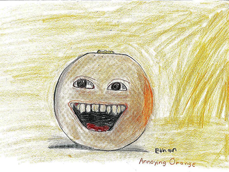 Cartoon Drawing - Annoying Orange by Fred Hanna