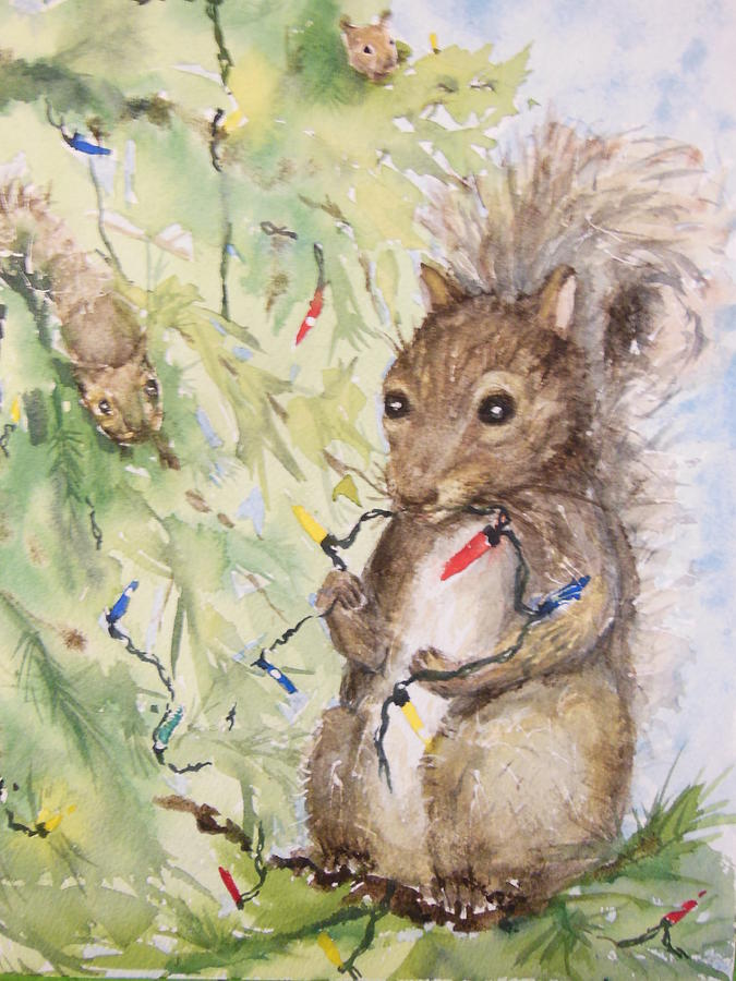Squirrel Painting - Annoyingly Adorable by Barbara McGeachen