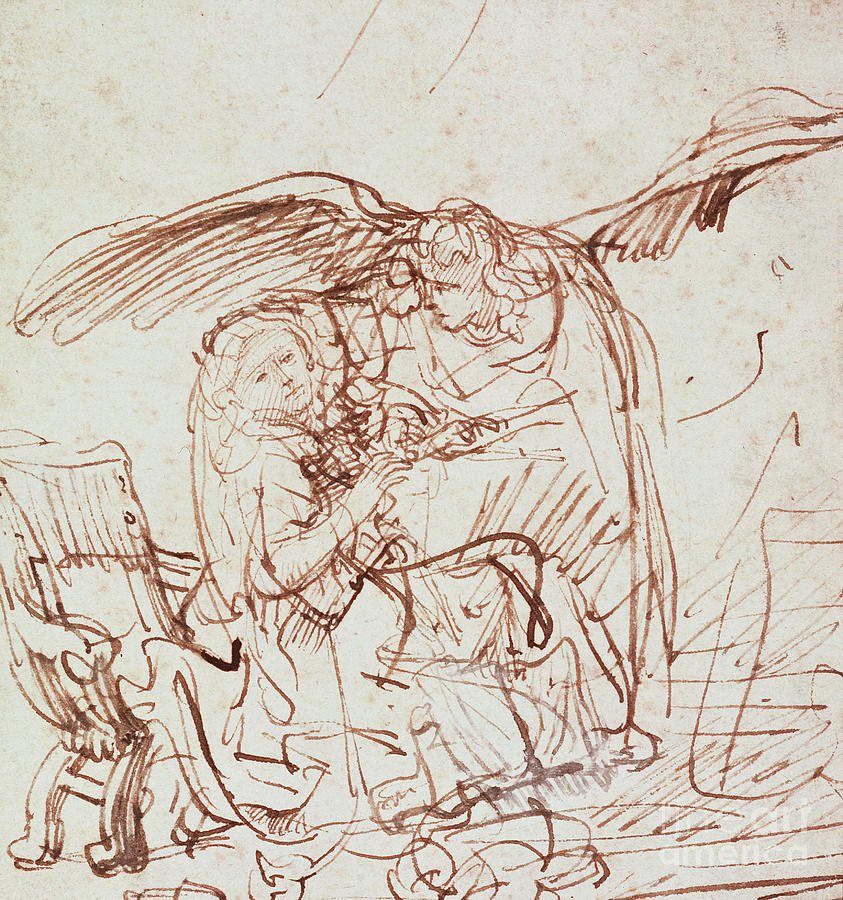 Annunciation Drawing - Annunciation  by Rembrandt Harmenszoon van Rijn