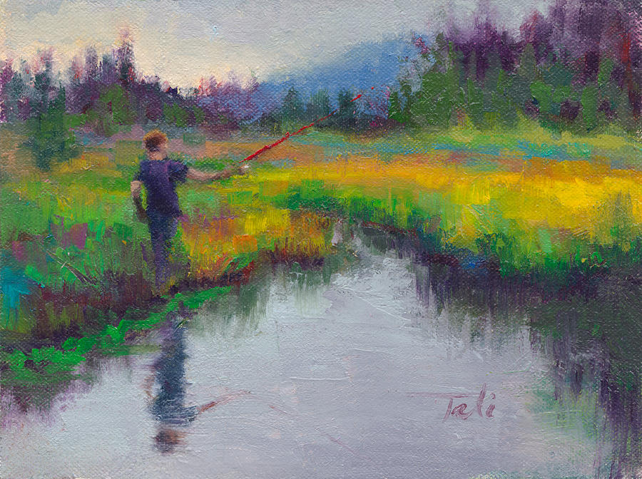 Boy Painting - Another Cast - Fishing In Alaskan Stream by Talya Johnson
