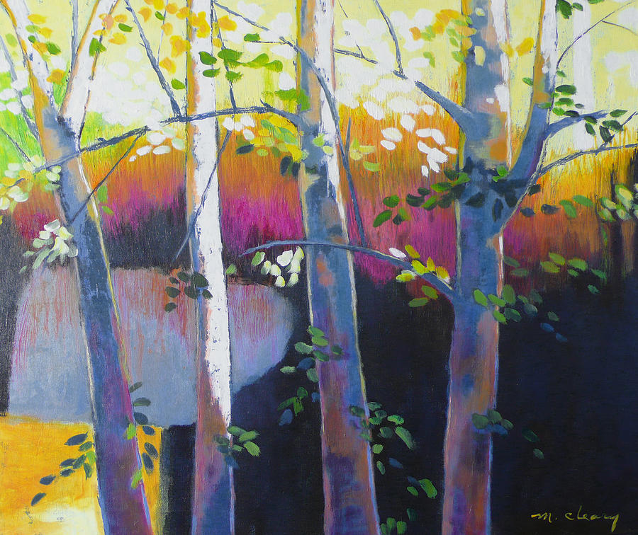 Tree Trunks Painting - Another Fine Day by Melody Cleary