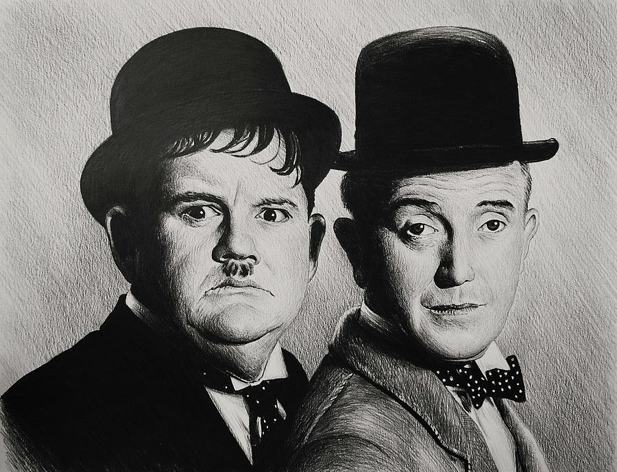 Laurel And Hardy Drawing - Another Fine Mess by Andrew Read