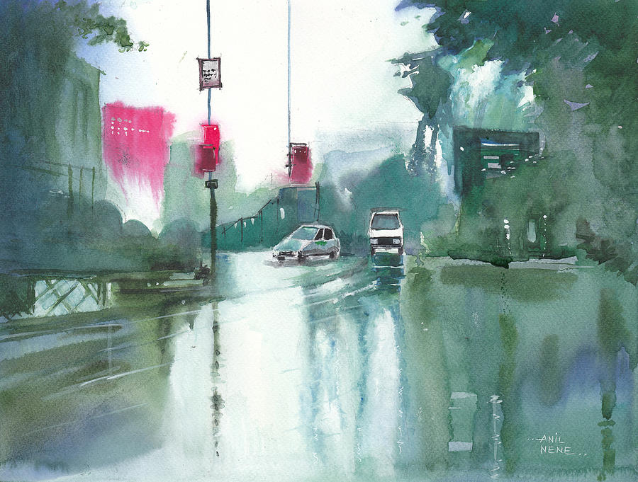 Landscape Painting - Another Rainy Day by Anil Nene