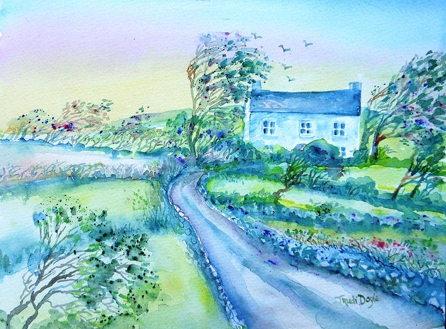 Windy Day Painting - Another Windy Day On Cleare Island Ireland   by Trudi Doyle