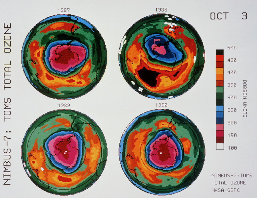 Ozone Photograph - Antarctic Ozone Hole: Toms Comparison 1987-1990 by Nasa/science Photo Library