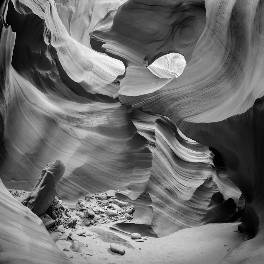 America Photograph - Antelope Canyon Rock Formations Bw by Melanie Viola