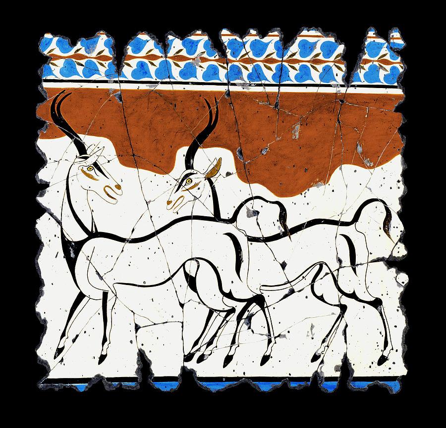 Antelope Painting - Antelope Of Akrotiri by Steve Bogdanoff