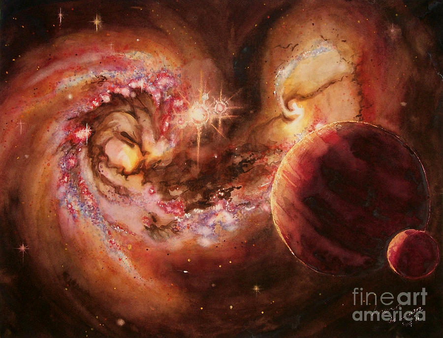 arwen De Lyon artsy Arwen planetary System And Merging Galaxies Galaxy Galaxies Planet Planets Stars space Art astronomical Art astronomy Art galaxy Art Astronomy Astonomy Astonomical Watercolor Watercolour Colorful Colourful Mysterious Mystical colorful Galaxy colorful Space Art Painting - Antennae Galaxies And Planets by Arwen De Lyon