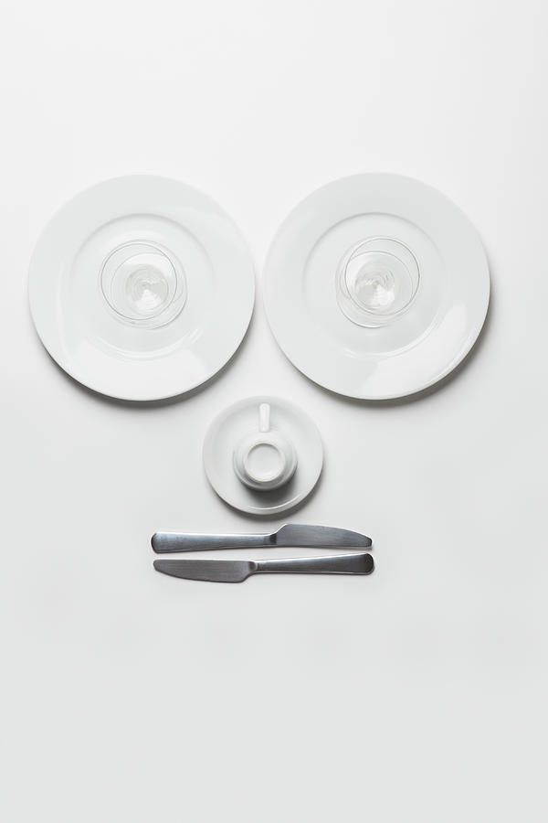 Anthropomorphic Face Made From Plates Photograph by Larry Washburn