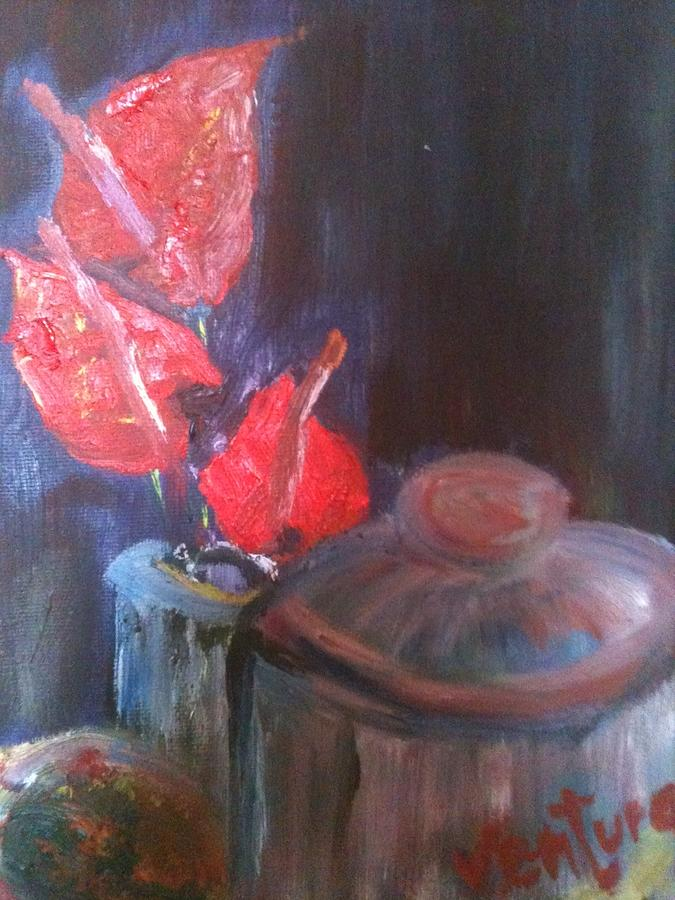 Hawaii Painting - Anthuriums From Hawaii by Clare Ventura