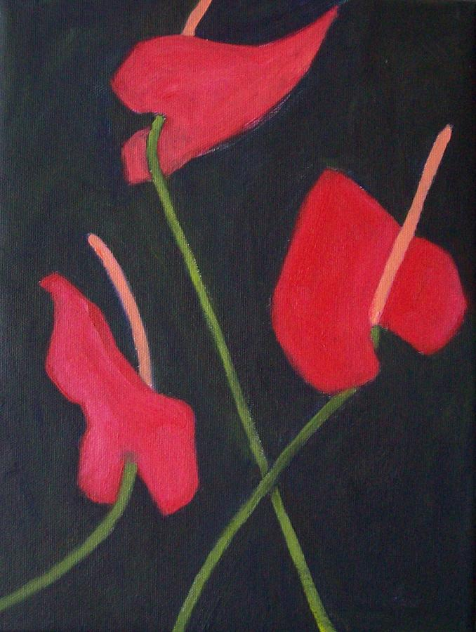 Anthurium Painting - Anthuriums by Mary Adam