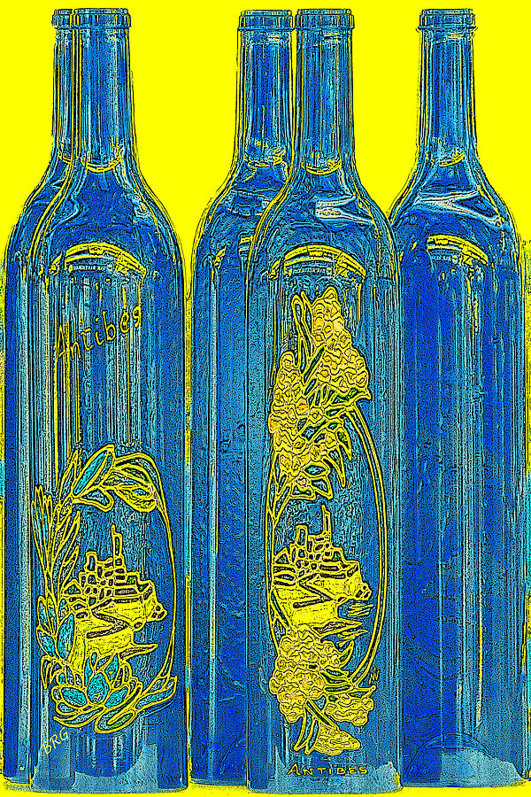 Blue And Yellow Photograph - Antibes Blue Bottles by Ben and Raisa Gertsberg