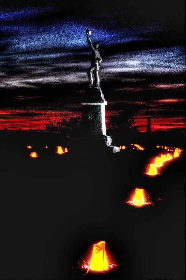Civil War Photograph - Antietam Memorial Illumination - 3rd Pennsylvania Volunteer Infantry Sunset by Michael Mazaika