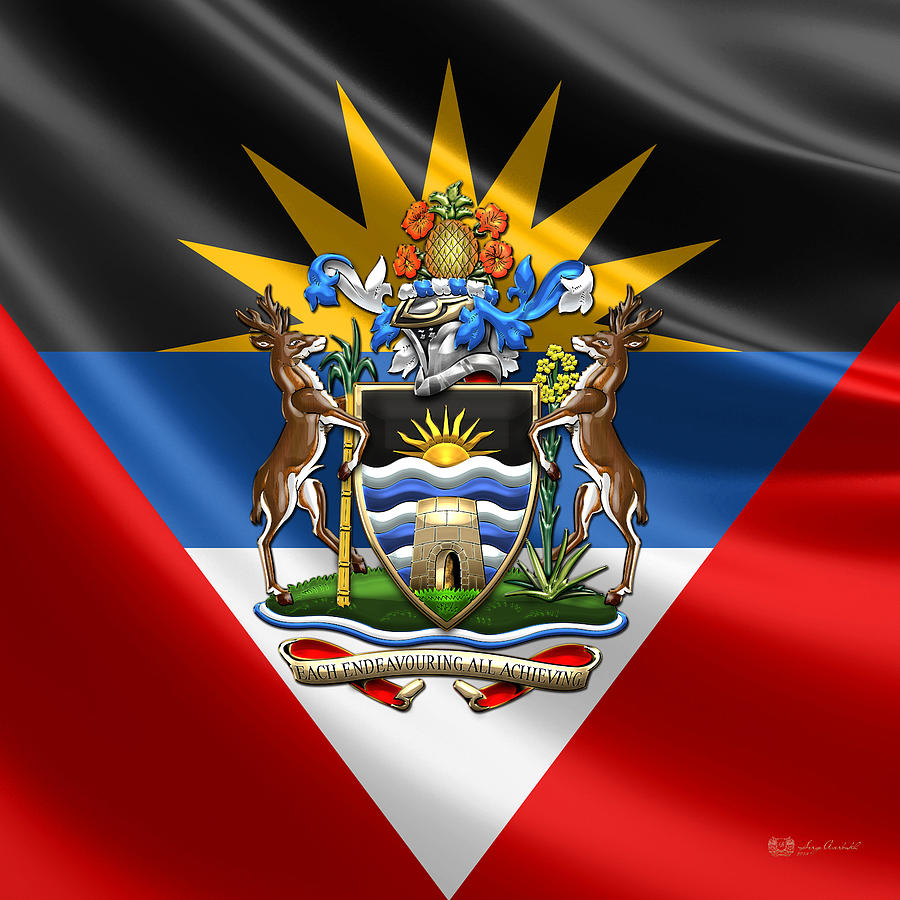 Antigua And Barbuda  Coat Of Arms Over Flag Digital Art by Serge