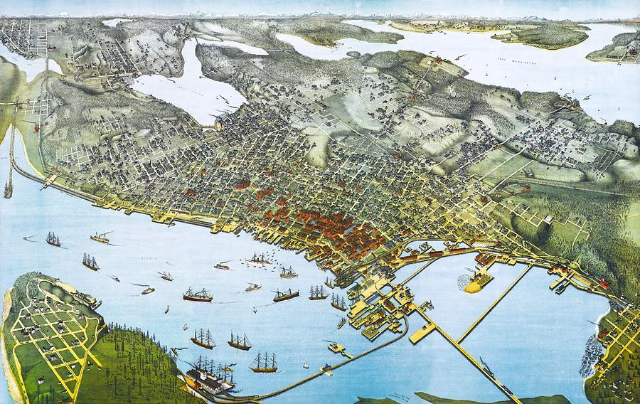 Antique 1891 Seattle Map Digital Art - Antique 1891 Seattle Map by Dan Sproul