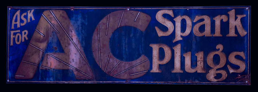 Ac Digital Art - Antique Ac Spark Plug Sign by Chris Flees